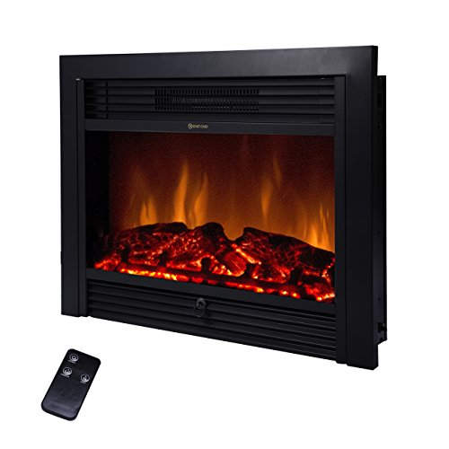 BEAMNOVA 28 Inch Electric Fireplace Black Freestanding Heater Insert Wall Mounted Glass View Log Flame w/Remote (Fireplace Front Replacement)