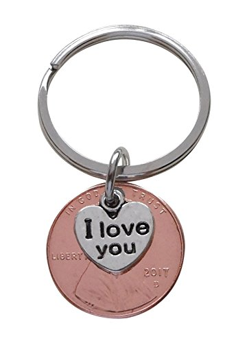 I Love You Heart Charm Layered Over 2017 US One Cent Penny Keychain; 1 Year Anniversary Gift, Couples Keychain - One Cent Penny