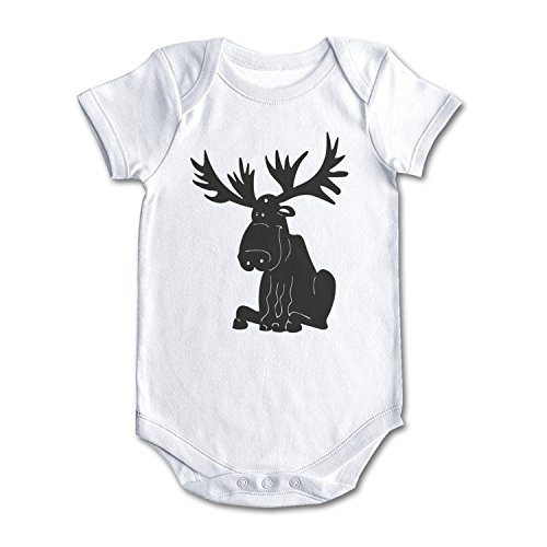 Cartoon Moose Silhouette Cool Design Baby Girl Boy Newborn Clothes White -
