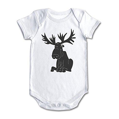 Cartoon Moose Silhouette Cool Design Baby Girl Boy Newborn Clothes White]()