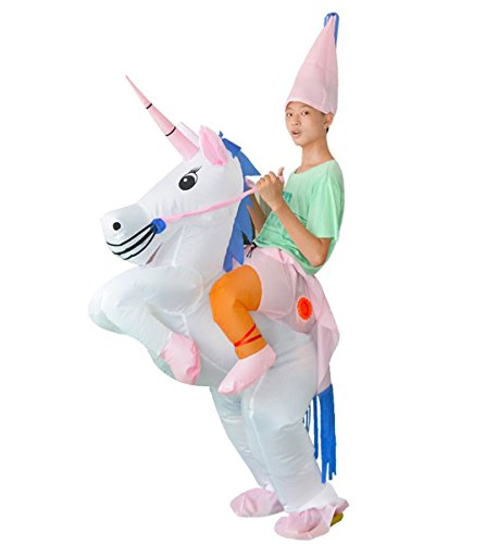 Unisex Teens Inflatable Unicorn Costume Horse Ride Outfit Blowup Fancy Dress (Ride A Unicorn Costume)