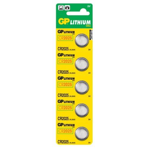 GP Batteries Piles CR2025–C5 Lot de 5 piles au Lithium