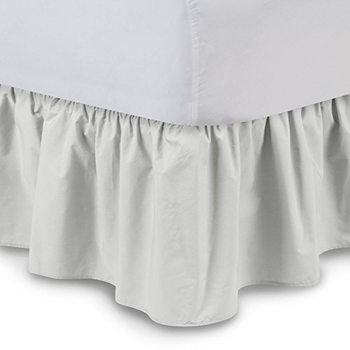 - Bedskirts - Cotton Ruffled Bedskirt (Queen, Light Grey) 21 Inch Bed Skirt with Platform, Wrinkle and Fade Resistant