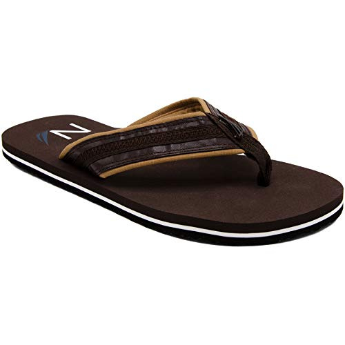 Nautica Men's Flip Flops Light Comfort Beach Sandal, Flat Thong Slides-Timmons-Chocolate-12 ()