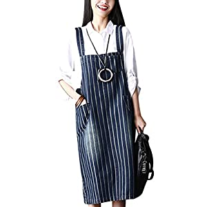 Zoulee Womens Casual Fashion Denim Jean Overall Dress with Pockets