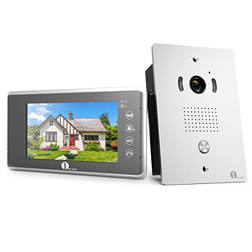 1byone Video Doorphone 2-Wires Video Intercom System 7-inch Color Monitor and HD Camera Video Doorbell with 49ft Cable, Flush Mounted Outdoor Doorbell