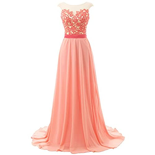 JAEDEN Long Prom Dresses Lace Open Back Chiffon Bridesmaid Dress Cap Sleeve Evening Party Gown Coral US2