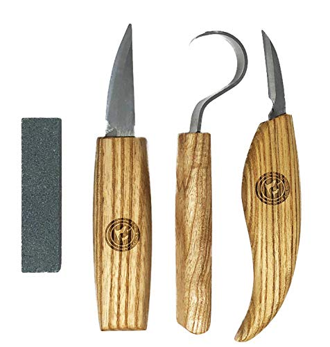 Wood Carving Kit - Set of Wood Carving Knives with Whittling Knife, Hook Knife, and Detail Knife + Knife Sharpener by Red Geese (Image #1)