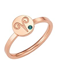 Star Signs Aries Horoscope ring with CZ Gem Birth Stone, Rose Gold Tone by Taylor & Vine
