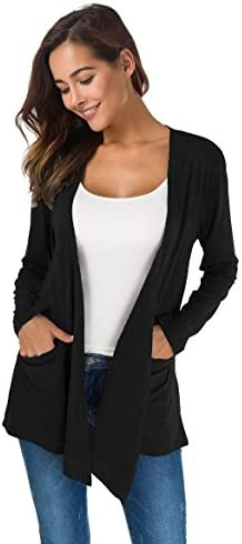 TownCat Cardigans for Women Loose Casual Long Sleeved Open Front Breathable Cardigans with Pocket 2