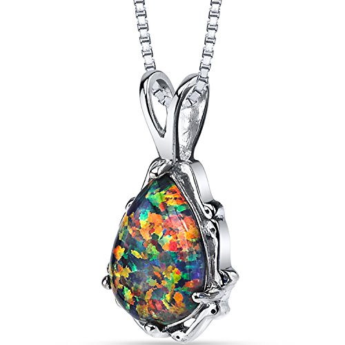 Created Black Opal Stala Pendant Necklace Sterling Silver 1.00 Carat