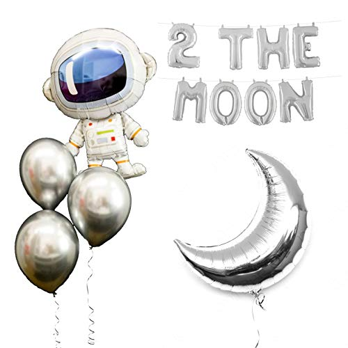 Space Party Balloons 2 the Moon Theme Party Supplies 17Pcs Chrome Silver Galaxy Astronaut Airship Spaceship Chrome Silver Moon Space Man Robot UFO Party Balloon Birthday Banner Decoration (Ufo Balloon)