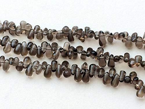 (GemAbyss Beads Gemstone 1 Strand Natural Smoky Quartz Plain Rough Teardrops, Smoky Quartz Briolettes, Smoky Quartz Necklace, 3x5.5mm - 4x7mm, 13 Inch)