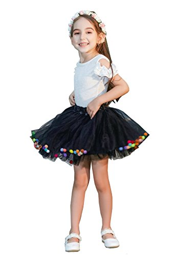 wexcen Tutu Skirt for Girls, 3 Layers Baby Ballet Tulle Tutu Dress with Pom Pom Puff Ball for Daily Life, Dance, Birthday for Age 2-9 Years -