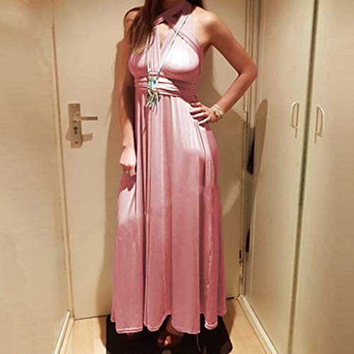 Maxi Pink Abiti da Elegante corto Sexy festa per donna Boho l'estate Casual da Night vestito w6URqxISR