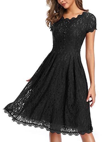 - IHOT Women's Vintage Floral Lace Cap Sleeve Retro Swing Elegant Bridesmaid Dress,Black,Medium