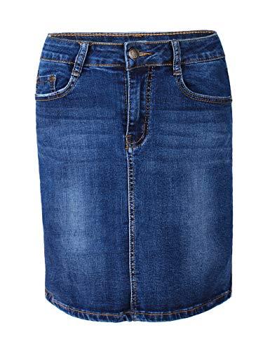 Fraternel Jupe Jeans Femme Longueur Genou Bleu