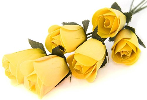 10 Yellow Roses (6 Yellow Half Open Bud Wooden Roses For Crafts Custom Bouquets And Other Projects. 10 Colors to Choose From.)