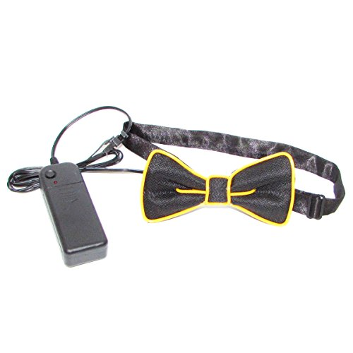 New Years Eve Rave Costume (LED Bow Tie Light Up Halloween Costume Accessory EL Wire Glow Flashing Novelty for Birthdays Christmas Wedding Rave Party New Years Festivals(Yellow))