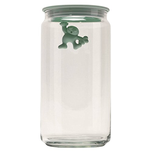 """Alessi AMDR06 MS""""Gianni a little man holding on tight"""" Kitchen Box in Glass With Hermetic Lid in Thermoplastic Resin, Mint Shake"""