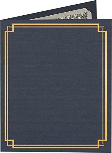 9 1/2 x 12 Certificate Holders - Dark Blue Linen - Gold Foil Square Border (25 Qty.) | Perfect for Award Recognition, Certificates, Documents and More! | CHEL-185-DDBLU100-SQGF-25