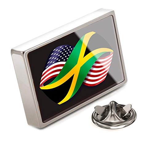 (NEONBLOND Lapel Pin Friendship Flags USA and Jamaica)