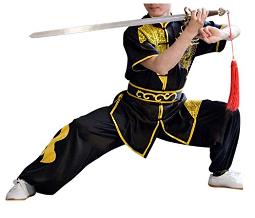 CRB Fashion Mens Boys Childrens Kids Kung Fu Master Tai Chi Dragon Chinese Uniform Outfit Costume Top Shirt Pants Set (Height 150cm, Black) -