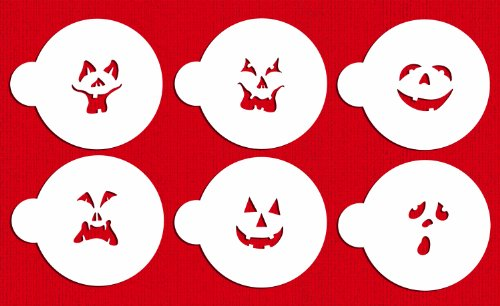 Designer Stencils C178 Pumpkin Halloween Faces Cake Stencils, Beige/semi-transparent