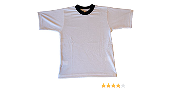 Camiseta Blanca Deporte Cuello Azul Marino