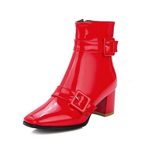 Red Boots Closed Toe Solid Heels Women's AmoonyFashion Square Kitten top PatentLeather Low pq7xP
