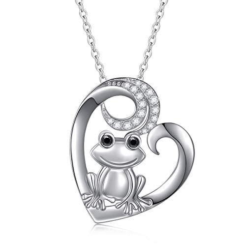 (S925 Sterling Silver Frog Love Heart Animal Pendant Necklace for Women Teen Girl 18'' Chain )