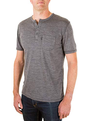 Woolly Clothing Men's Merino Wool Henley Tee Shirt - Everyday Weight - Wicking Breathable Anti-Odor XL CHR