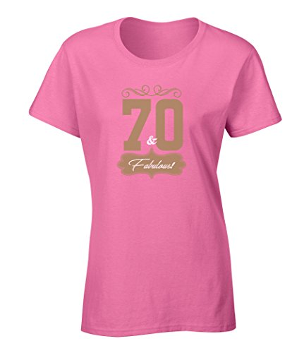 [Seventy And Fabulous Happy 70th Birthday Gift Bundle With Ladies T Shirt And 10 Party Balloons Azalea] (70s Ladies Fashion)