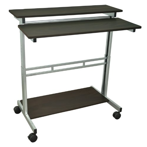 - Luxor Mobile Stand-Up Computer Desk With Silver Gray Frame And Dark Walnut Laminated Shelves Electronics, Accessories, Computer