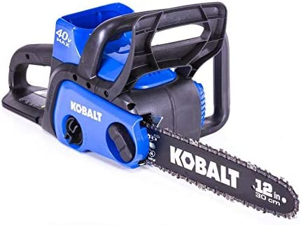 Kobalt KCS 120-07 40-Volt Max Lithium Ion 12-in Cordless Electric Chainsaw, Black Blue