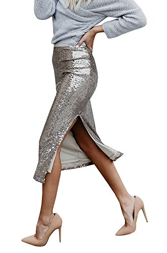 Fashare Womens Glitter Sequin Pencil Skirts Side Slit Knee Length Bling Shiny Midi Party ()