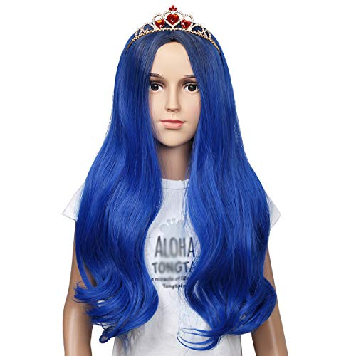 Kids Size Wig and Crown Set Long Wavy Cosplay Wig for Halloween Costumes and Party (Dark Root Blue)