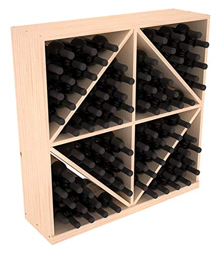 Wine Racks America Ponderosa Pine 96 Bottle Solid Diamond Bin. Unstained