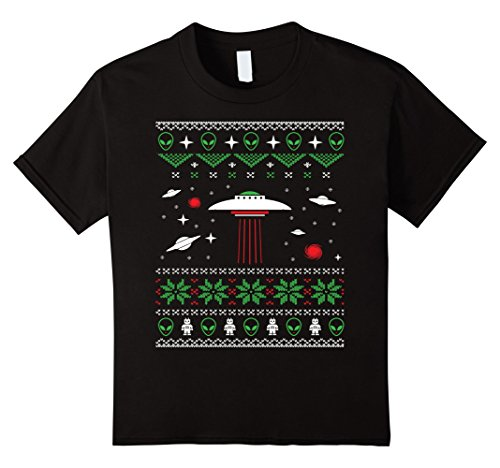 Sci FI UFO and Alien Ugly Christmas T-Shirt