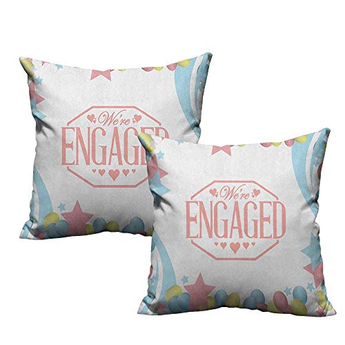 RuppertTextile Personalized Pillowcase Engagement Party We are Engaged Celebration Balloons Stars Swirls Vintage Image Mildew Proof W18 xL18 2 - Utes Utah Satin