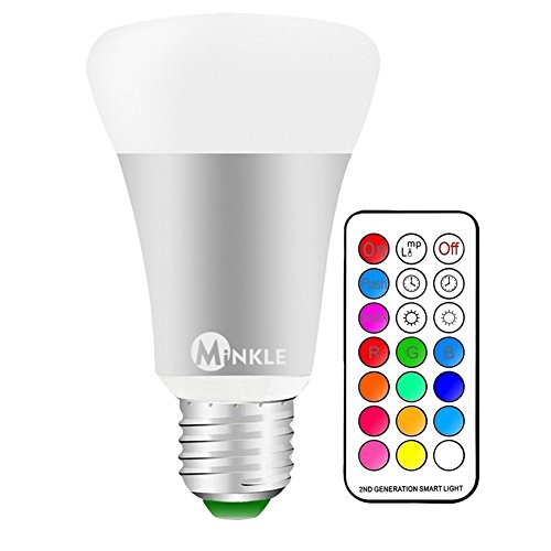 LED RGBW Light Bulbs, Minkle 10W E27 12 Colors Changing Dimmable Lighting Lamps with Remote Controller