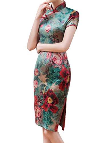 Delle Tribale Vestito Donne Elegante Comodi Dal Dimagrimento 1 Del Spaccato Floreale Cheongsam ZAww8a1q
