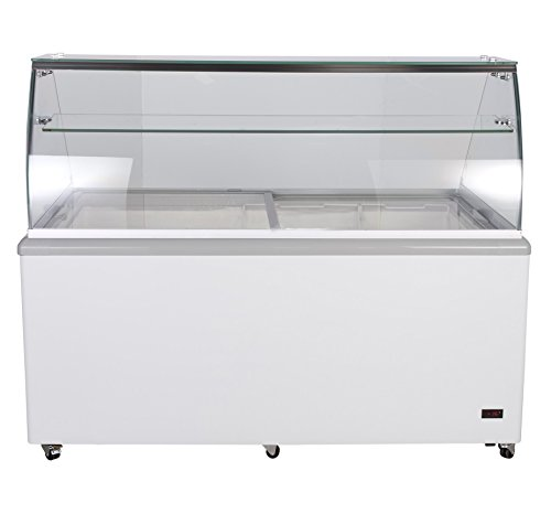 Chef's Exclusive Commercial 12 Flavor Frost Free Ice Cream Dipping Cabinet Case Sub Zero Freezer Glass Canopy 20 Cubic Feet With Skirts - Displays 12 Tubs and Stores 10 Additional, 70 Inch Wide, White