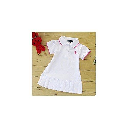 Kids Girls Tennis Skirt Short Sleeved T Shirt Dress White Size: 3-4 Years(XL)