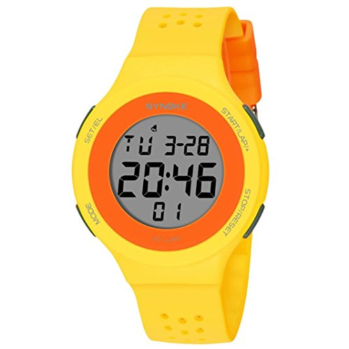Kids Watches,vmree Multi-Function 50M Waterproof Watch LED Digital Double Action Watch (Yellow)