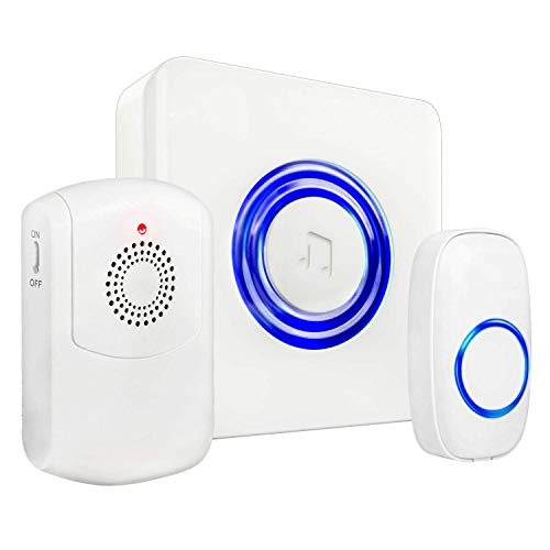SadoTech Portable Vibrating Flashing Doorbell - Receiver Vibrates (with belt clip), Transmitter Button and Plugin Receiver Flashes for the Hearing Impaired, Model H (White)