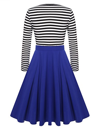 ACEVOG Elegante Damen Langarm Striped Skaterkleid Ballkleid Festliches Cocktail Abend Kleid A-Linie Swing Kleider Knielang Schwarz, EU 40-42(Herstellergröße:M), Schwarz