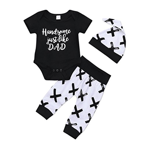 EGELEXY Baby Boys Summer Mamy's New Man Letter Short Sleeve T-Shirt + Pant+ Hat 3pcs Size 12-18 Months(Tag 90) ()