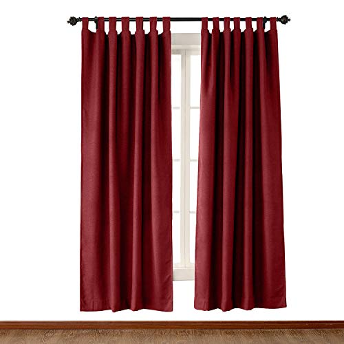 ChadMade Luxury Textured Faux Linen Window Curtain Burgundy 50