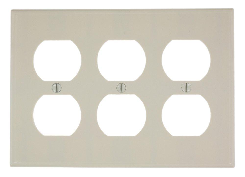 Leviton 78030 3-Gang Duplex Device Receptacle Wallplate, Standard Size, Thermoset, Device Mount, Light Almond
